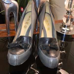 L.A.M.B by Gwen Leather Heels Tie Up 10B MSRP $385